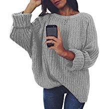 Pull gris grosse maille femme