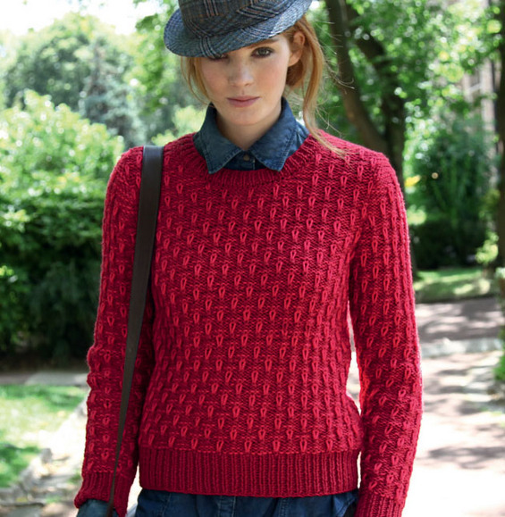 Pull rouge laine femme