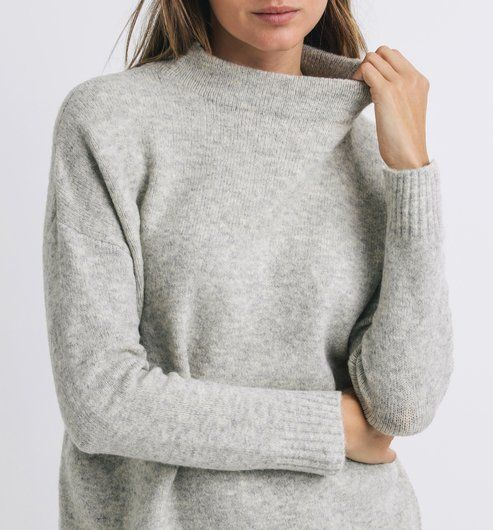 Pull gris col montant femme
