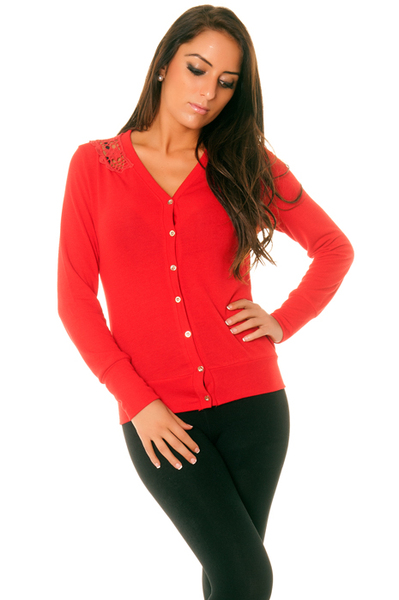 Pull fin rouge femme