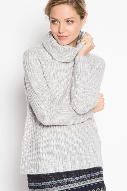 Pull col roule cachemire femme