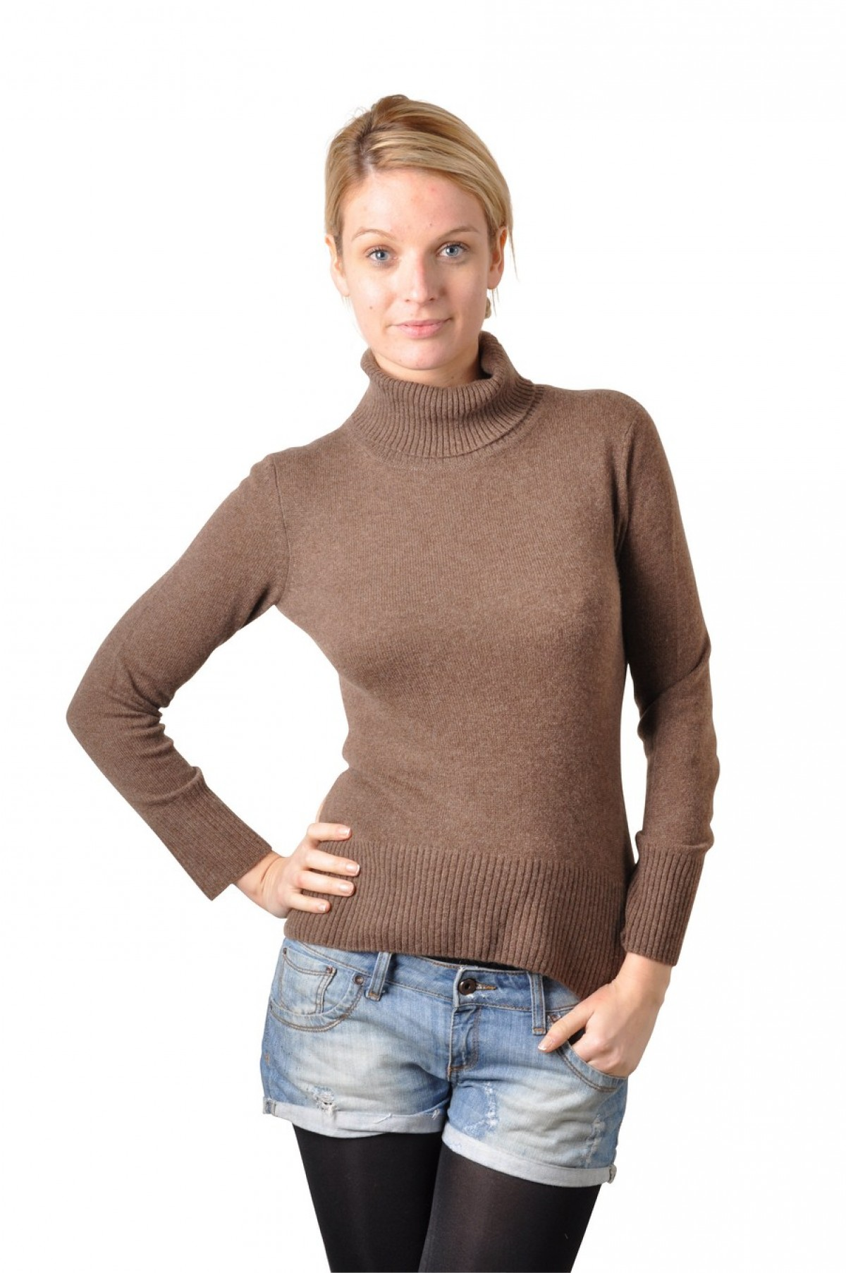 Pull cachemire col montant femme