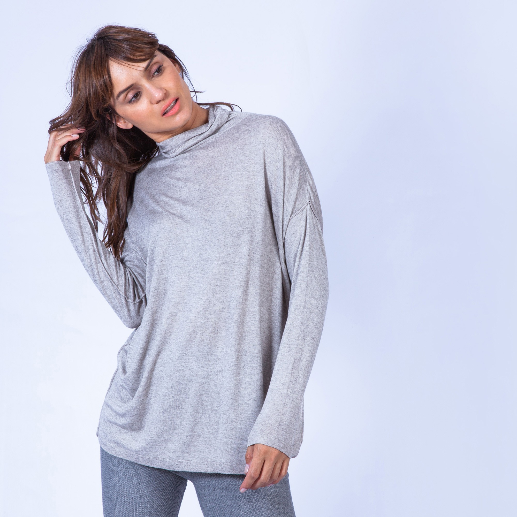 Pull femme col montant cachemire