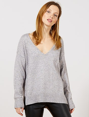 Pull gris maille femme