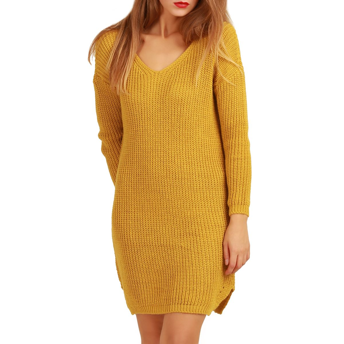 Robe pull maille femme ample